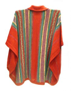 Cape Sanita red multicolor in alpaca with kent collar en button fastening Available in different color paterns.