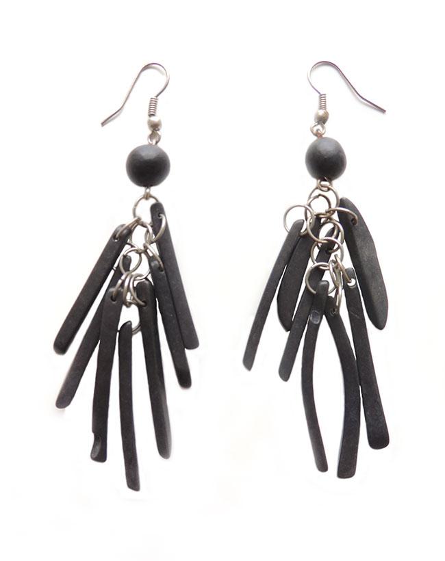 PFL Earrings, multi stripe black made from Taqua