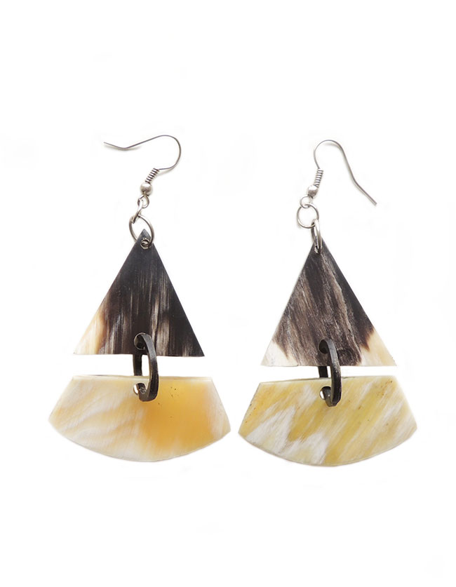 PFL Earrings, triangle figure made from bull horn
