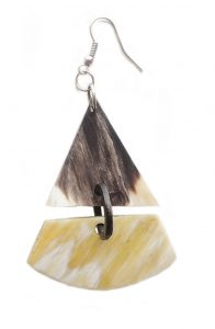 PFL Earrings, triangle figure made from bull horn