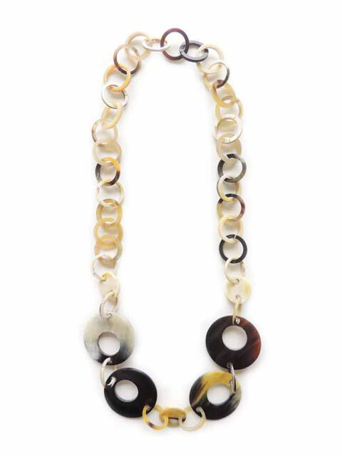 PFL necklace with large and little round links made of polished bulls horn.
