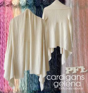 Multi colored cardigans P17 Muru with standing collar and button closure.