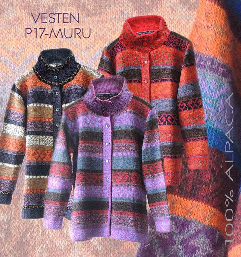 PopsFL groothandel, dames vesten meerkleurig in 100% alpaca wol