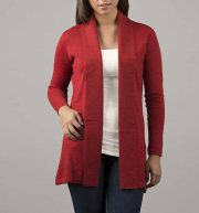 Classic fine knitted loose fit cardigan in luxurious ultra soft baby alpaca, red
