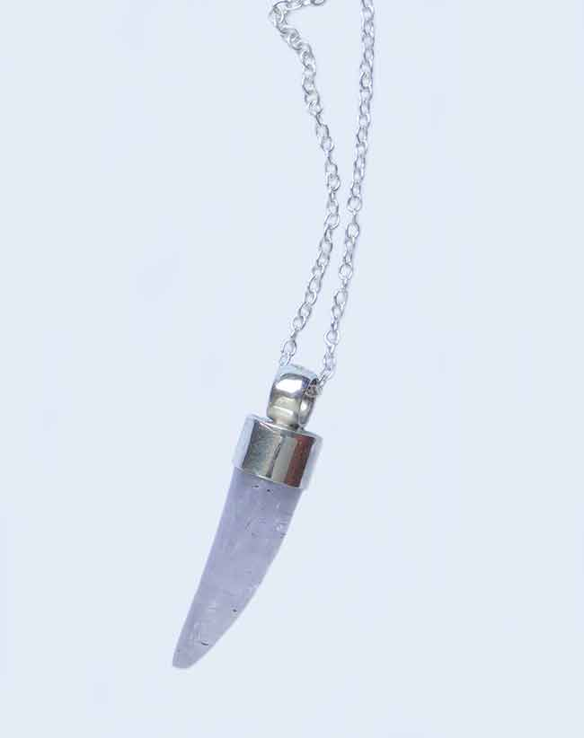 PFL Premium, handmade necklace of silver 950 pendant in tooth shaped amethyst stone in combination with silver 950.