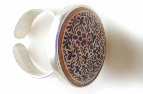 PFL Premium open ring of silver 950 with hand engraved design in dried gourd (Mate)