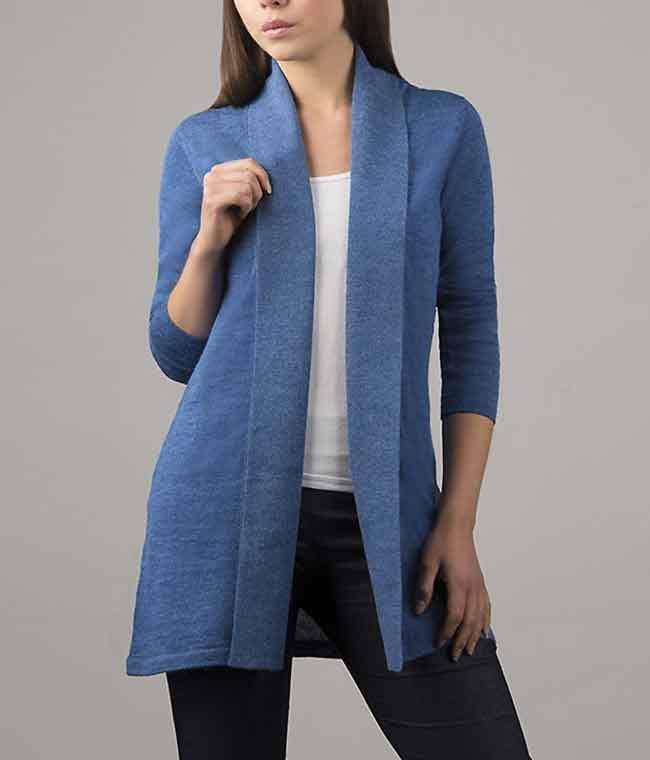 Classic fine knitted loose fit cardigan in luxurious ultra soft baby alpaca, blue.