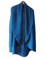 Full knitted open cardigan model Rocio blue, in a soft alpaca blend.
