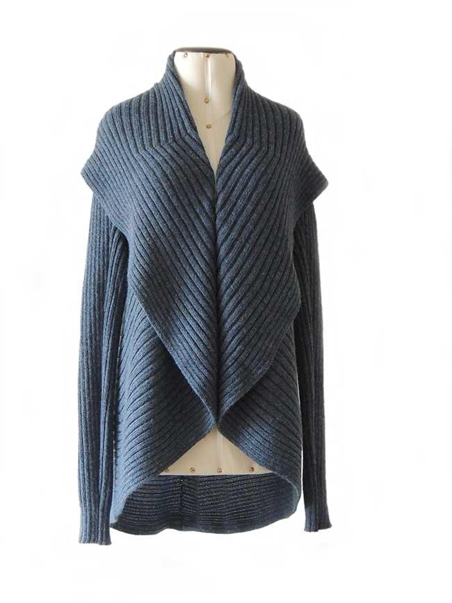 PFL Full knitted open cardigan model Keyla in a soft alpaca blend, steelblue