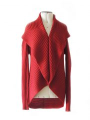 PFL, Full knitted open  cardigan model Keyla in a soft alpaca blend, red