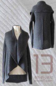 PFL Full knitted open cardigan model Keyla, in a soft alpaca blend, grey