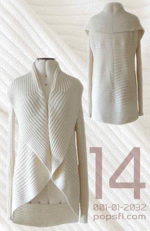 Full knitted open cardigan model Keyla creme white in a soft alpaca blend.