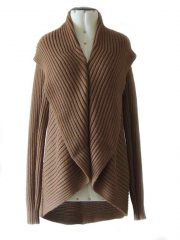 Full knitted open cardigan model Keyla in a soft alpaca blend, beige