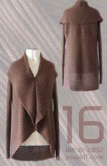 PFL Full knitted open cardigan model Keyla in a soft alpaca blend, brown