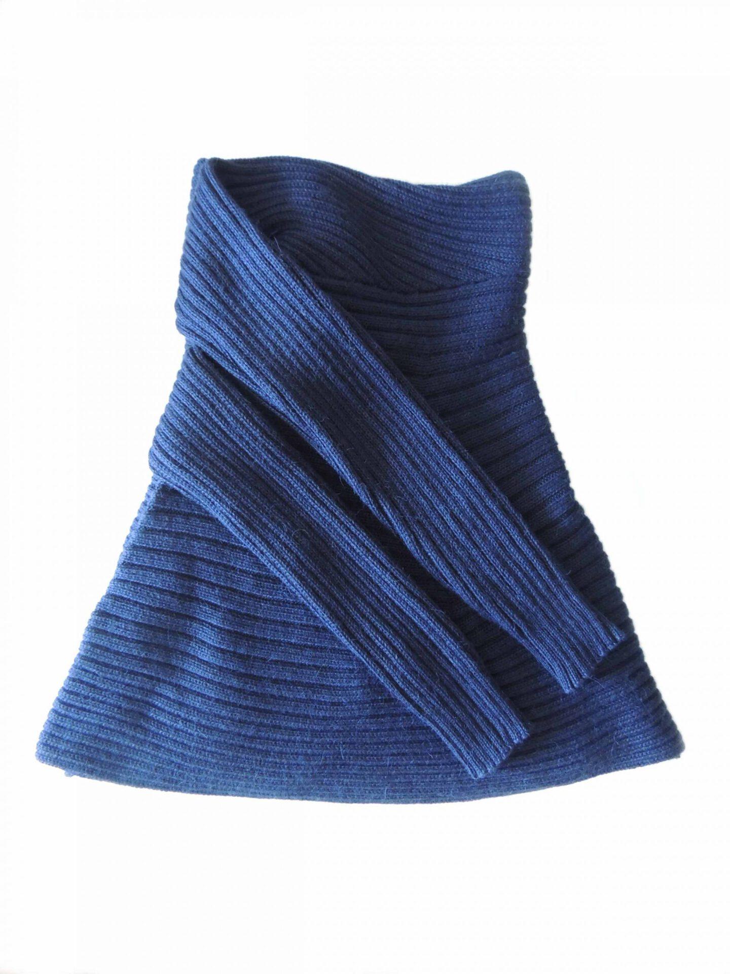 PFL Full knitted open cardigan model Keyla, in a soft alpaca blend, blue