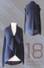 PFL Full knitted open cardigan model Keyla, in a soft alpaca blend, dark blue