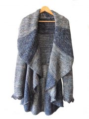 Full knitted open cardigan blue multi.
