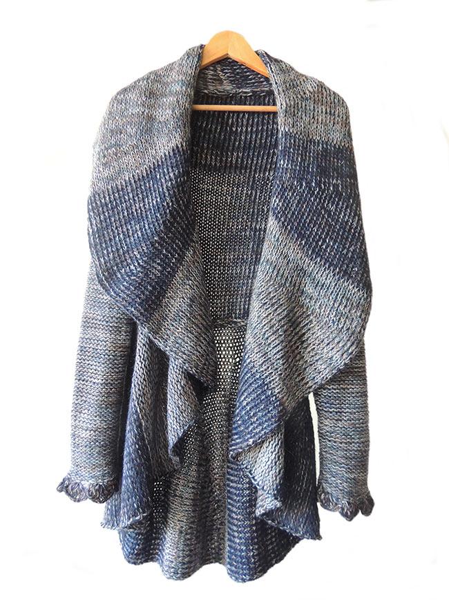 Full knitted open cardigan blue multi.