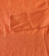 Open knitted sweater, orange in soft baby alpaca with deep V-neck, rib knit sleeves