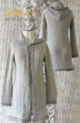 Cardigan Shirley, silver grey in suri alpaca