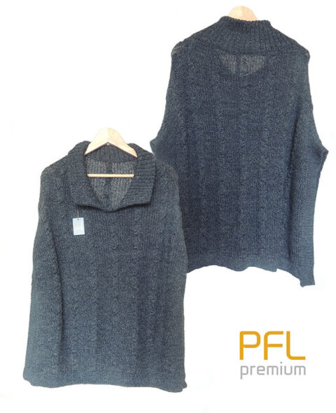 PFL knitted cape dark grey with turtleneck collar and a classic cable structure