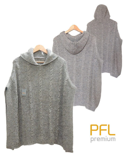 PFL knitted cape gray-marble, hoodie with a classic cable structure, rib structure at the edges