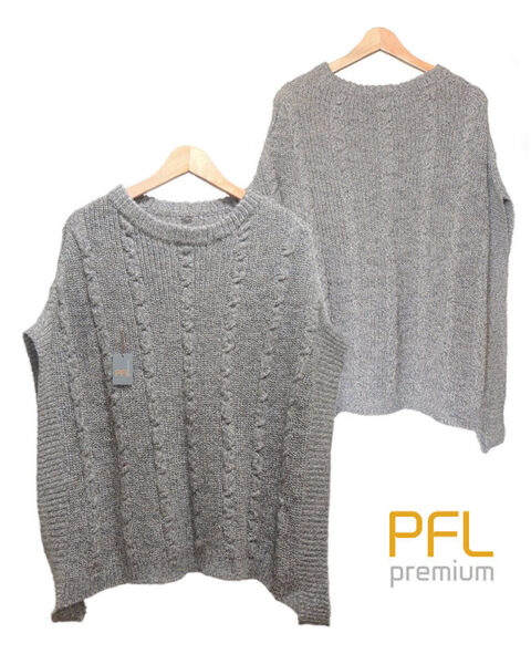 PFL knitted cape gray-marble with round neck and a classic cable structure