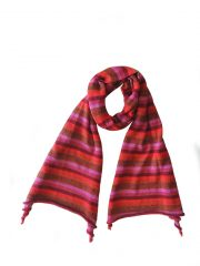 PFL scarf in baby alpaca, red with multi colored stripe motif.