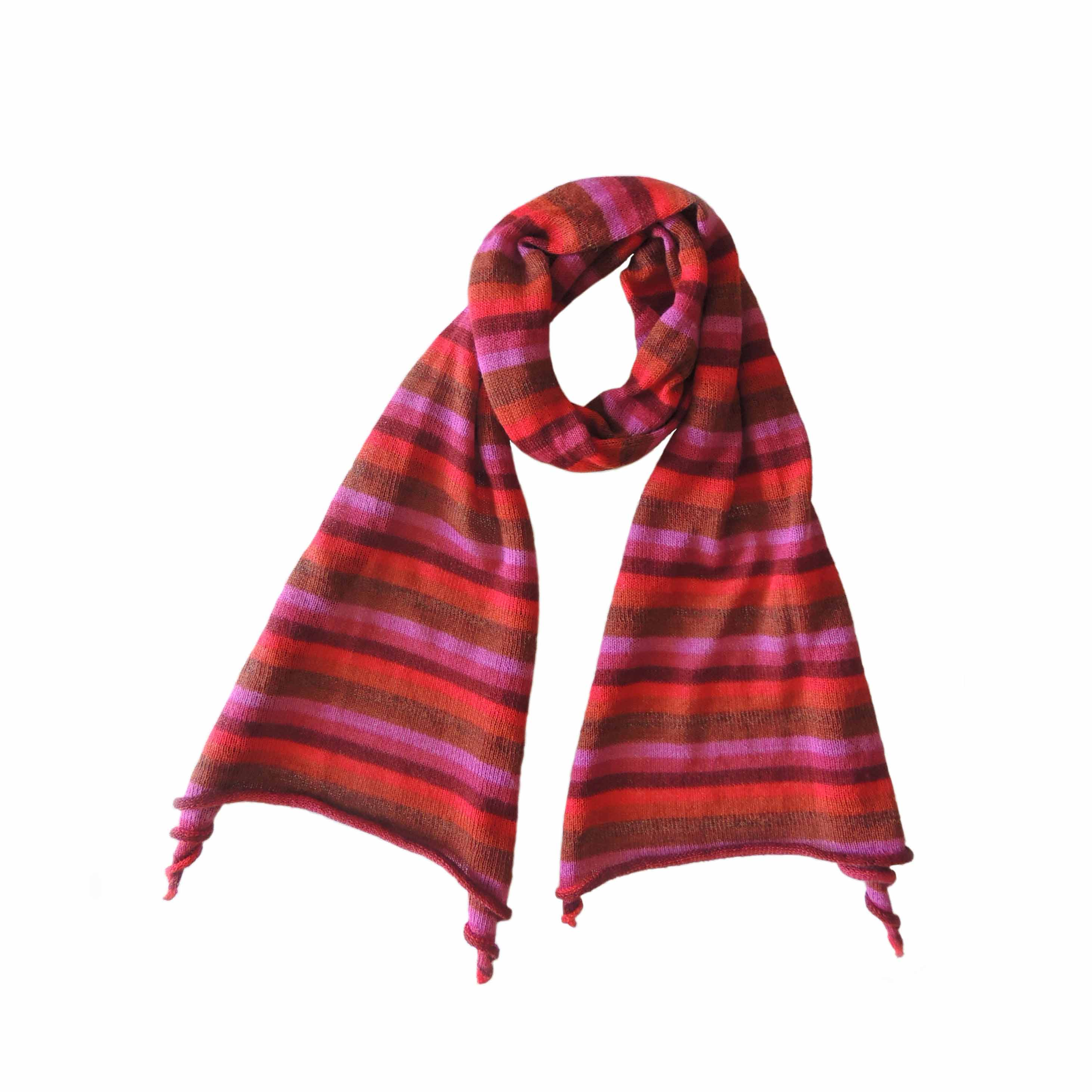 PopsFl Peru wholesal manufactor PFL knitwear scarf koose knitted in solid color and multi color striped, alpaca blend
