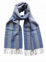 Scarf with stripe pattern and fringes made in baby alpaca, unisex