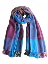 Scarf blue-multi color pattern with fringes at the end, in baby alpaca