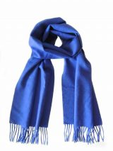 Woven scarf cobalt blue with fringes, soft and comfortable in baby alpaca.