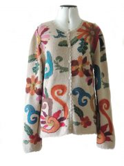 Artisanal knitted Intarsia cardigan with embroiderend and crochet details.