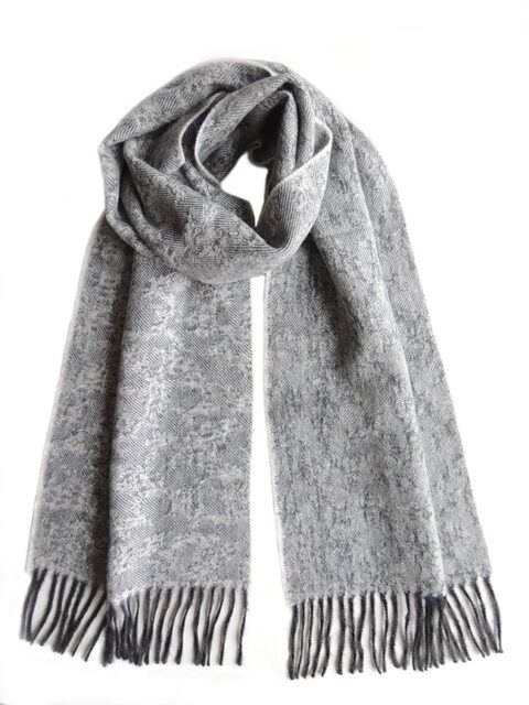 Scarf gray with woven flower design and fringes made in baby alpaca