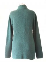 PFL Knits, classic, cardigan with open front and shawl collar which ends in the pockets