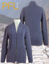 PFL Knits, classic, cardigan with open front and shawl collar which ends in the pockets,