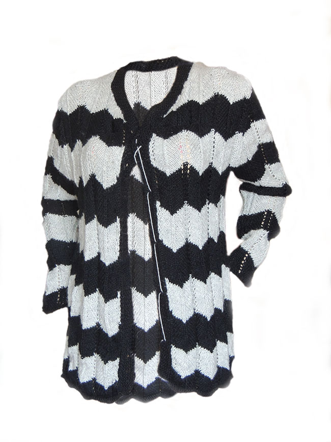 PFL knits cardigan black and white stripe pattern, closes with buttons