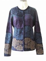 PFL knits: Jacquard knitted cardigan with floral pattern, Crew neckline. and button closure, baby alpaca.