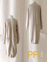PFL knits: Long open cardigan PHEDRA with two pockets and v-neck