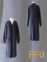 PFL knits: Long open cardigan PHEDRA with two pockets and v-neck blue