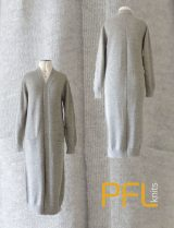 PFL knits: Long open cardigan PHEDRA with two pockets and v-neck gray