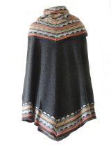 PFL knits cape Fiona in 100% baby alpaca, grey multi