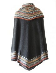 PFL knits cape Fiona in 100% baby alpaca, grey multi