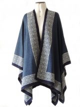 PFL Knits ruana in blue with contrasting ethnic pattern.
