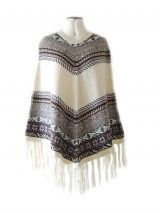 PFL cape of alpaca with fringed and ethnic patterns.