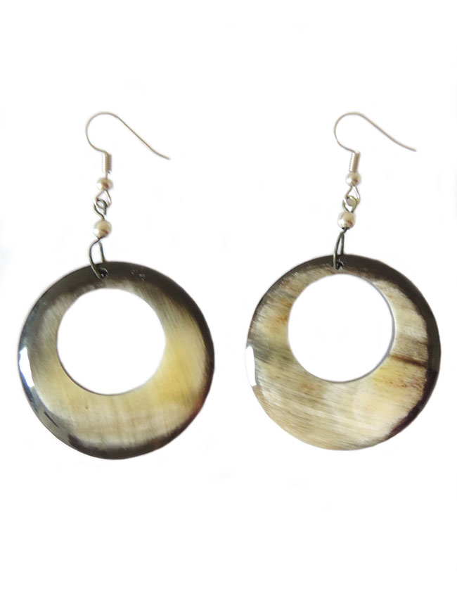PFL, round earrings made from polished buffalo horn, lightweight.