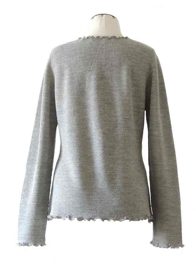 fine knitted grey ruffled cardigan along the hem with in baby alpaca