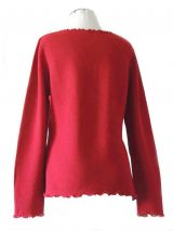fine knitted red ruffled cardigan along the hem with in baby alpaca