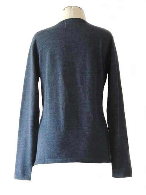 fine knitted black classic sweater with crewneck in baby alpaca
