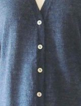 jeans blue with V-Neck and mother of pearl button button closure in baby alpaca